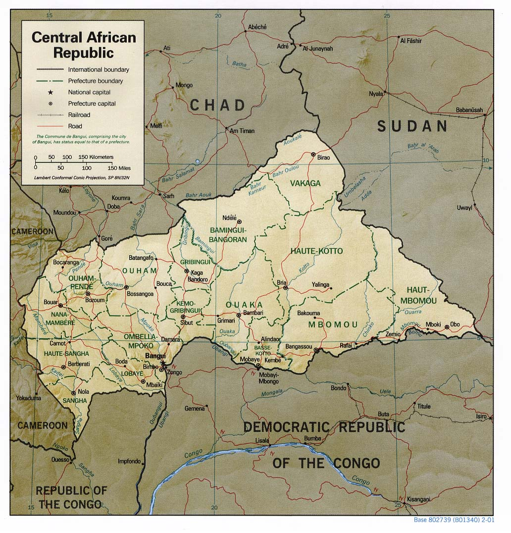 Central African Republic Shaded Relief Map