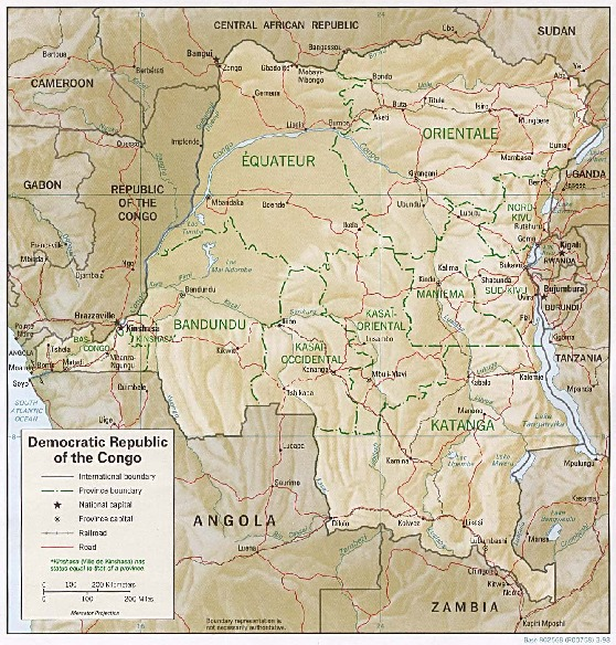 Democratic Republic of the Congo (Zaire) Shaded Relief Map