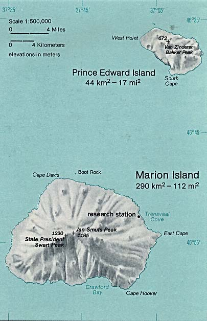 Prince Edward Islands Shaded Relief Map, South Africa