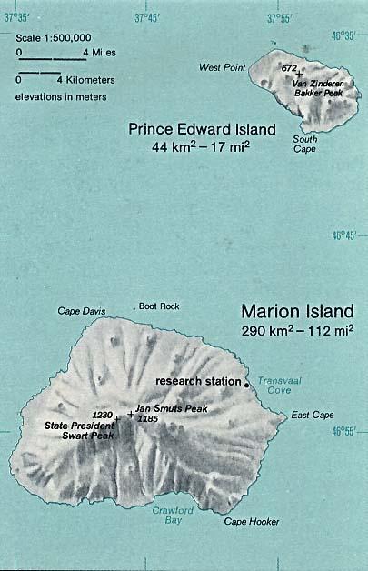 Mapa de Relieve Sombreado de las Islas del Príncipe Eduardo, Sudáfrica