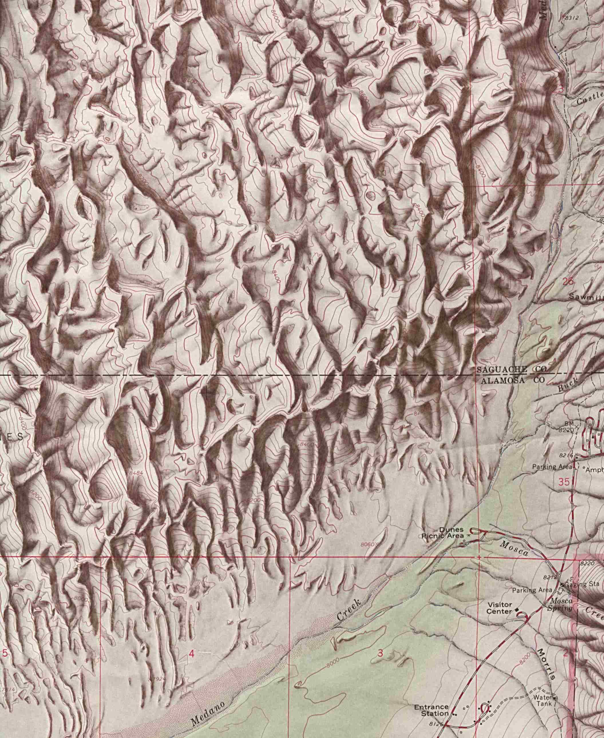 Mapa de Relieve Sombreado del Monumento Nacional Great Sand Dunes, Colorado, Estados Unidos