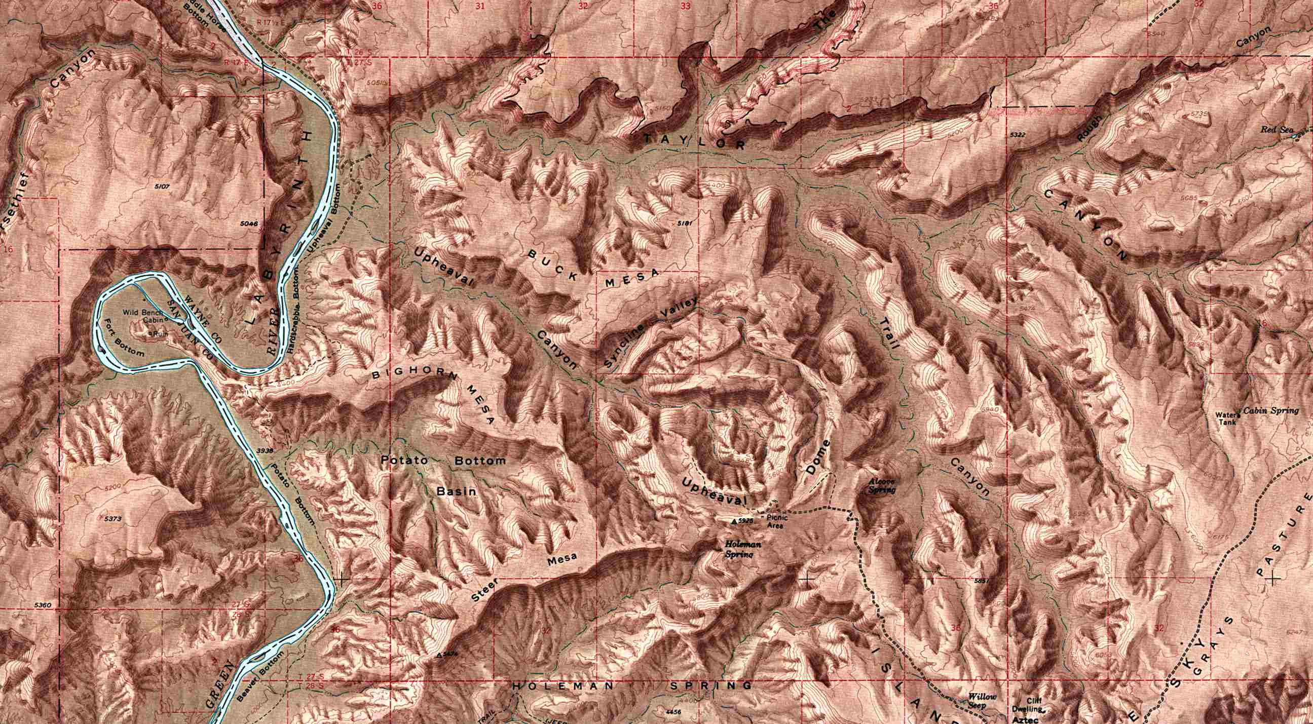 Canyonlands National Park Shaded Relief Map, Utah, United States