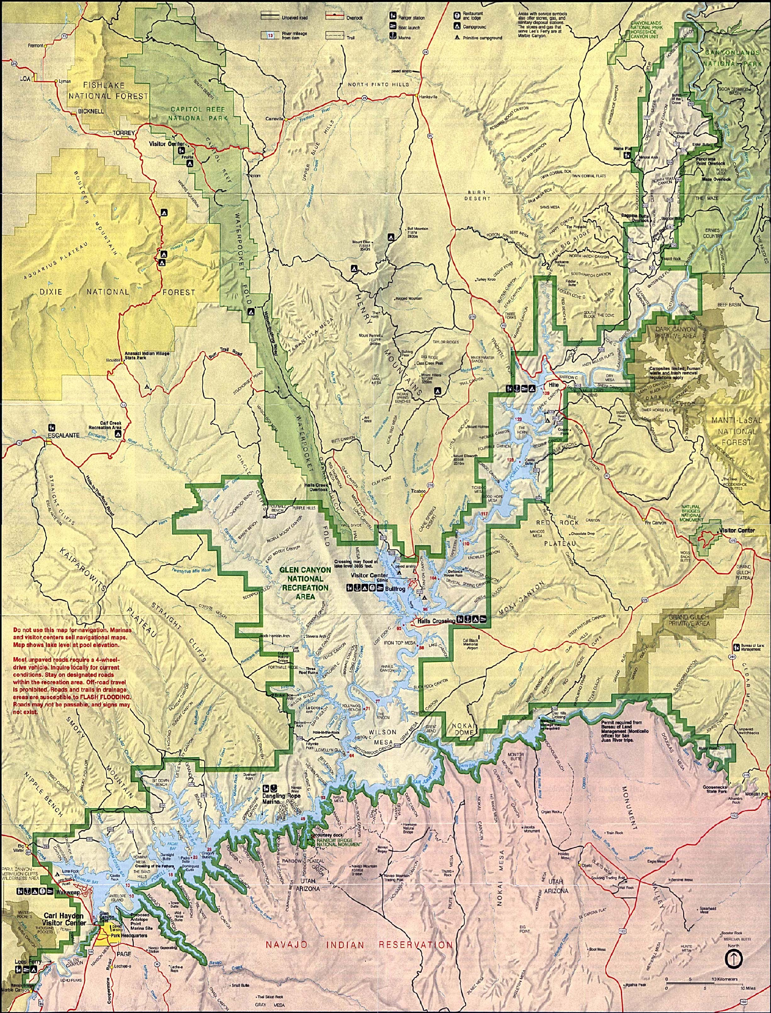 Mapa de Relieve Sombreado del Área Nacional de Recreación Glen Canyon, Arizona y Utah, Estados Unidos