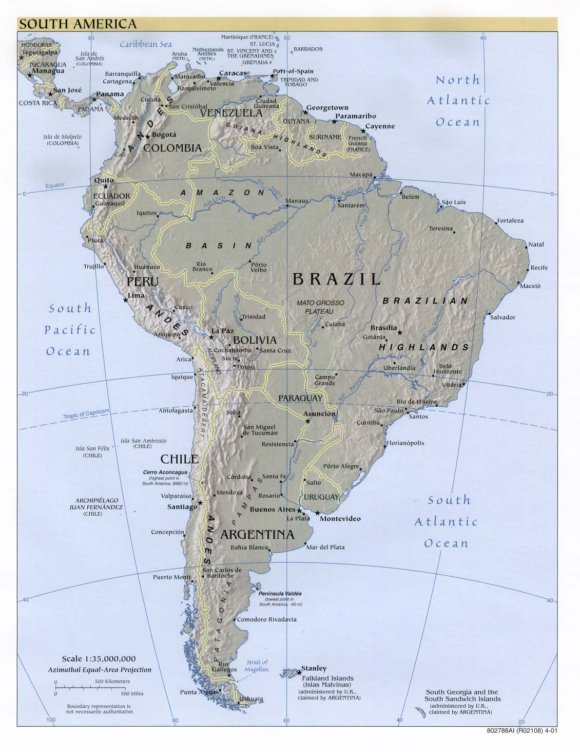 South America Shaded Relief Map 2001