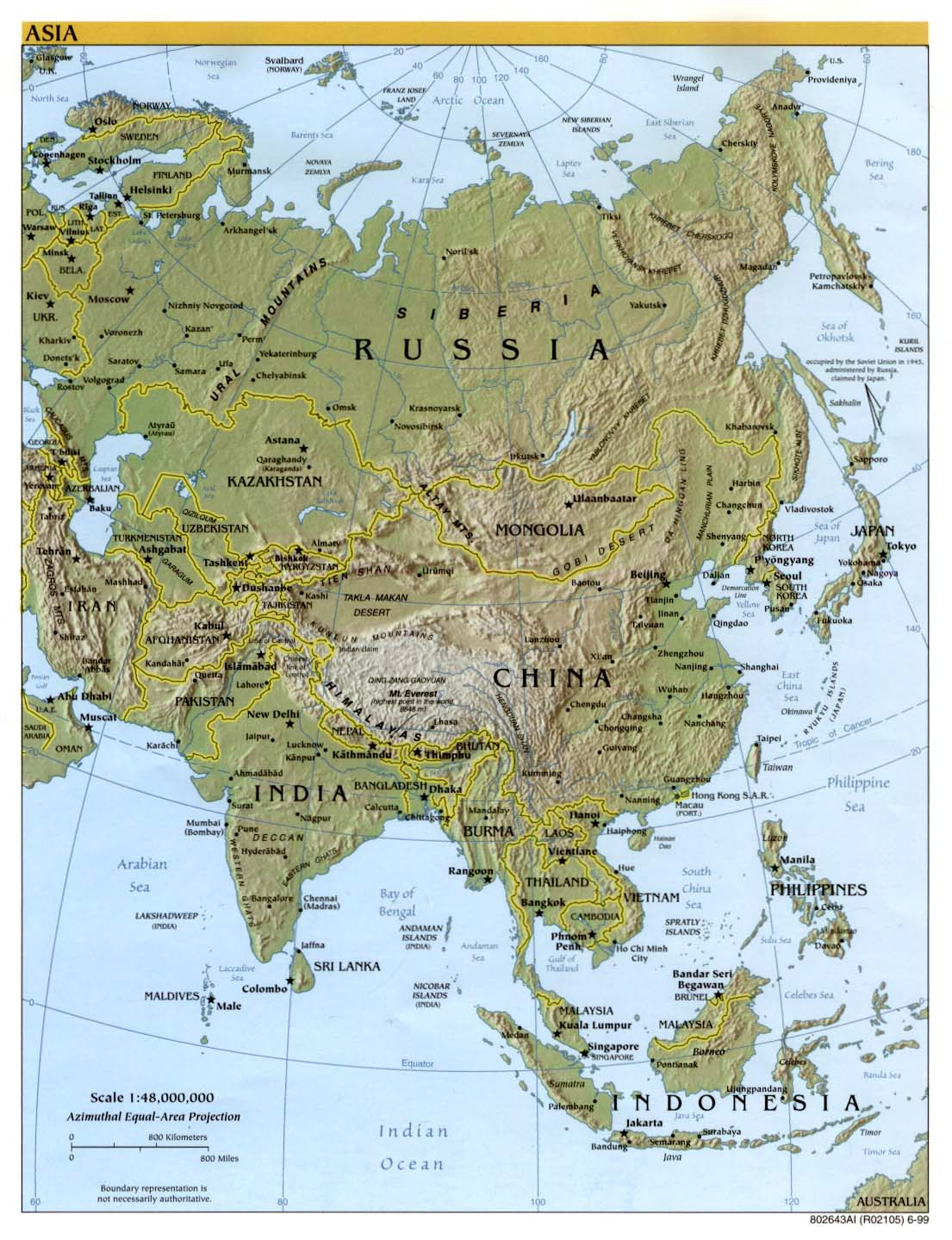 Asia physical map 1999