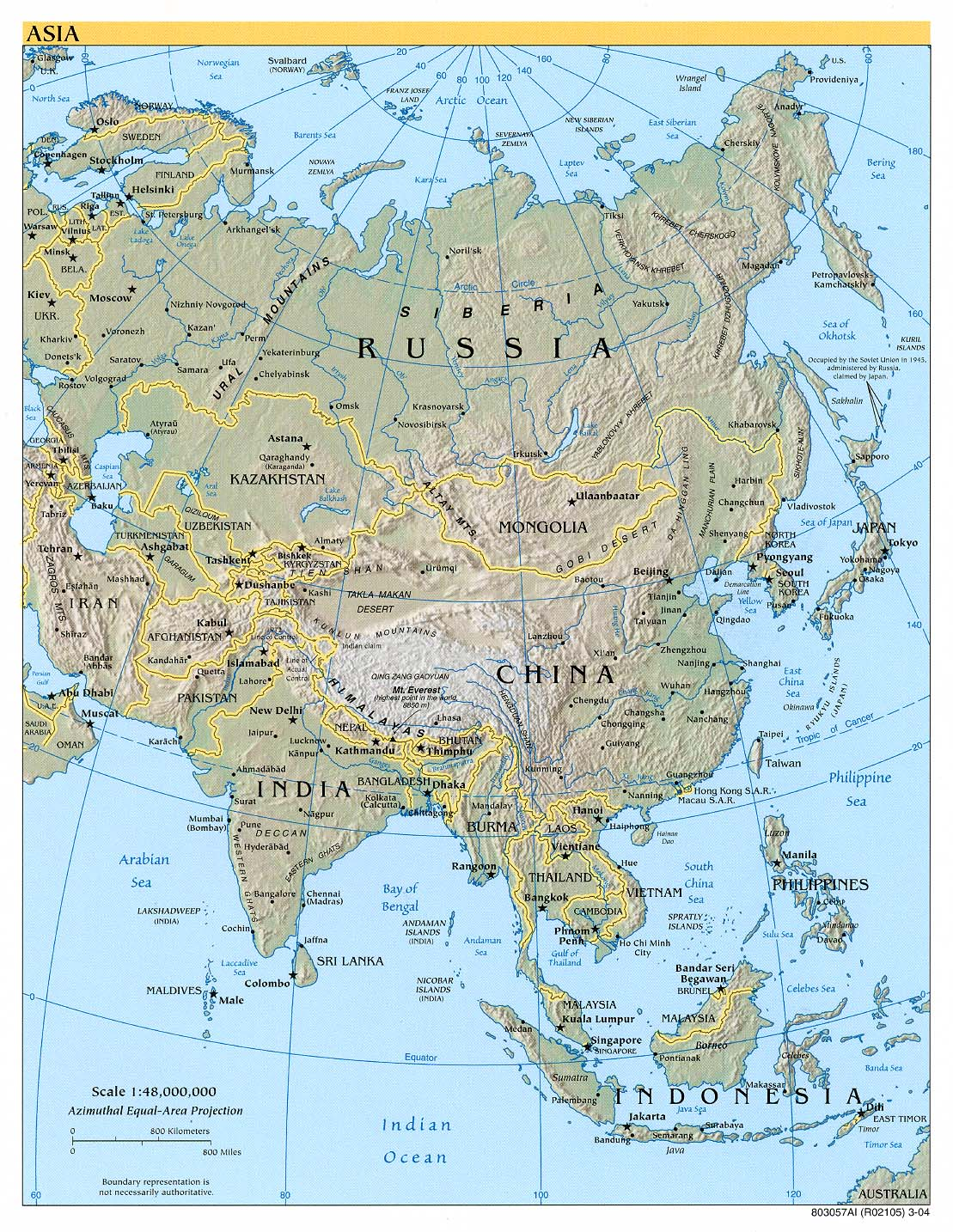 Asia physical map 2004