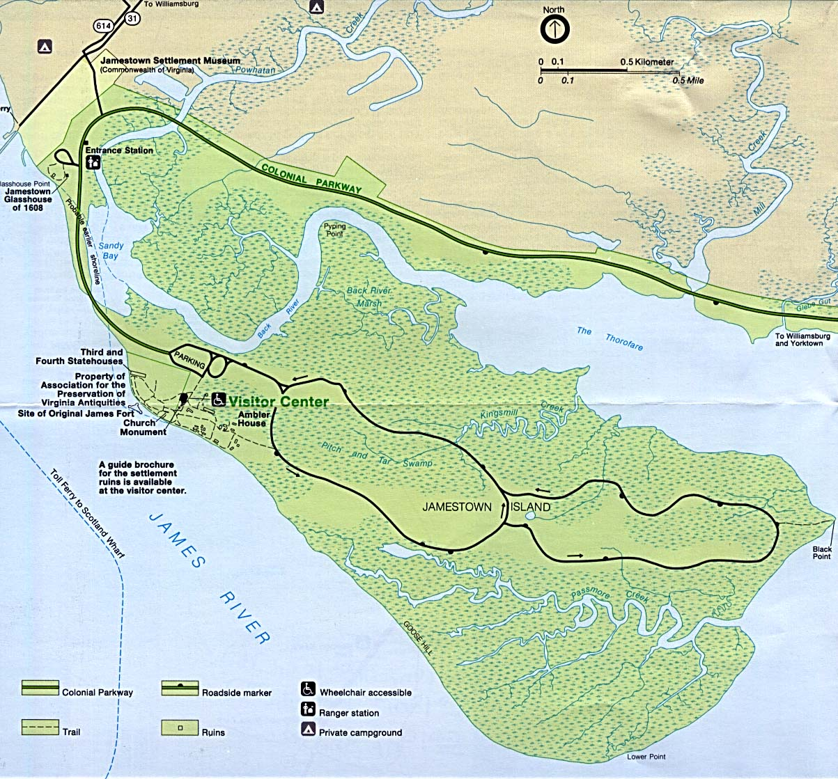 Colonial Jamestown Island Relief Map, Virginia, United States