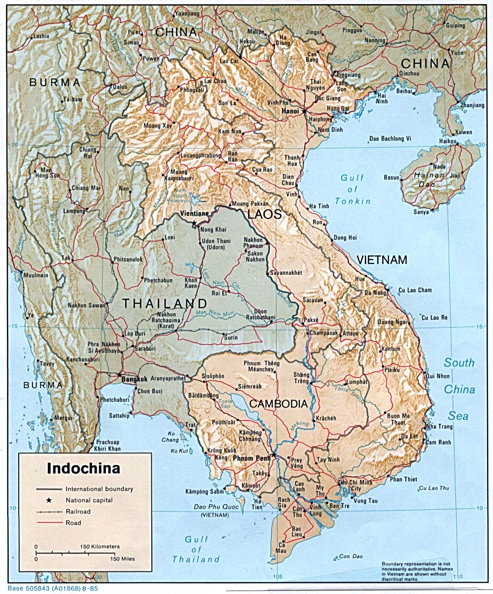 Mapa de Relieve de Indochina