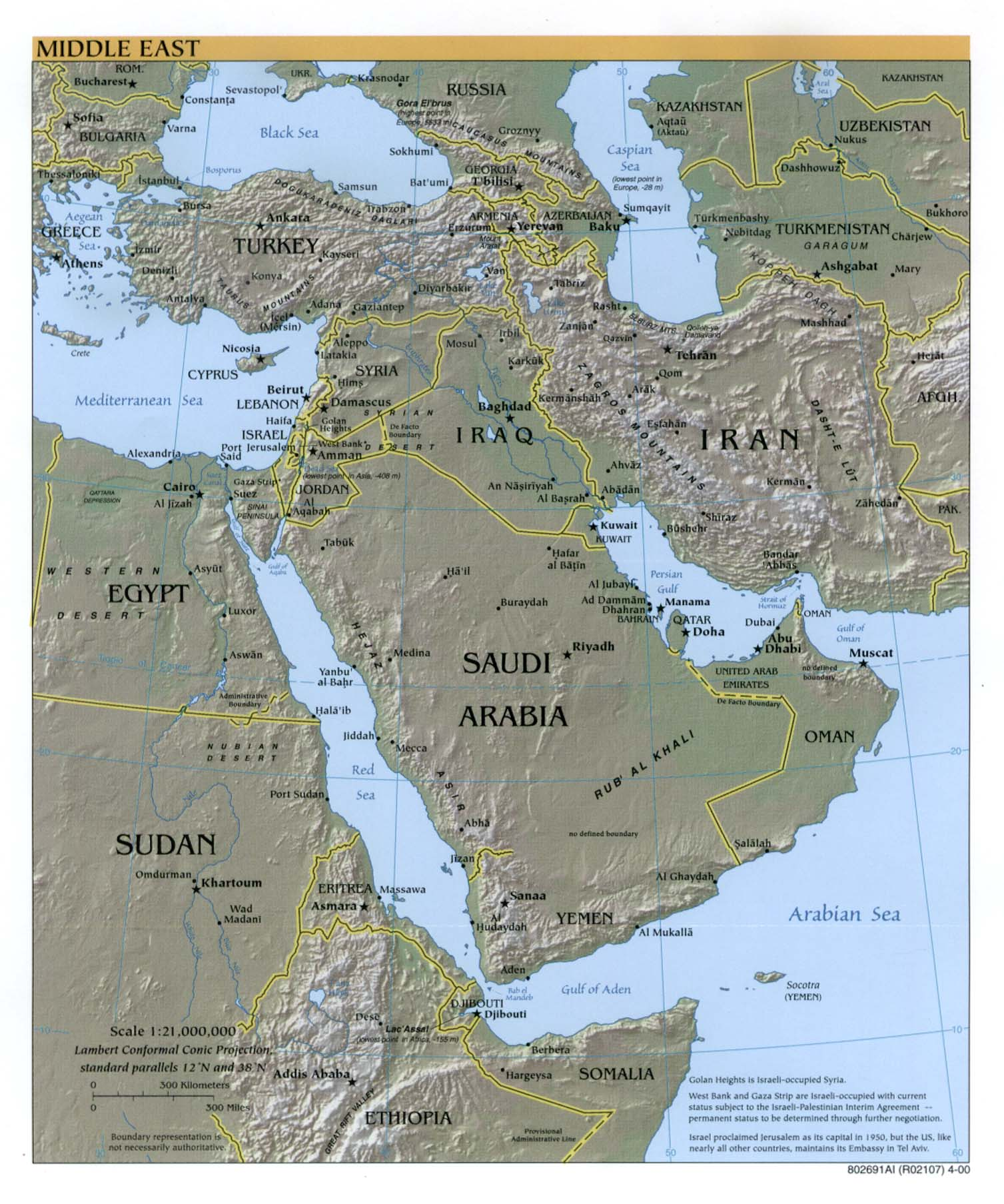 Middle East Shaded Relief Map 2000
