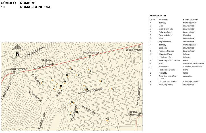 Roma-Condesa Map, Mexico D.F. Mexico