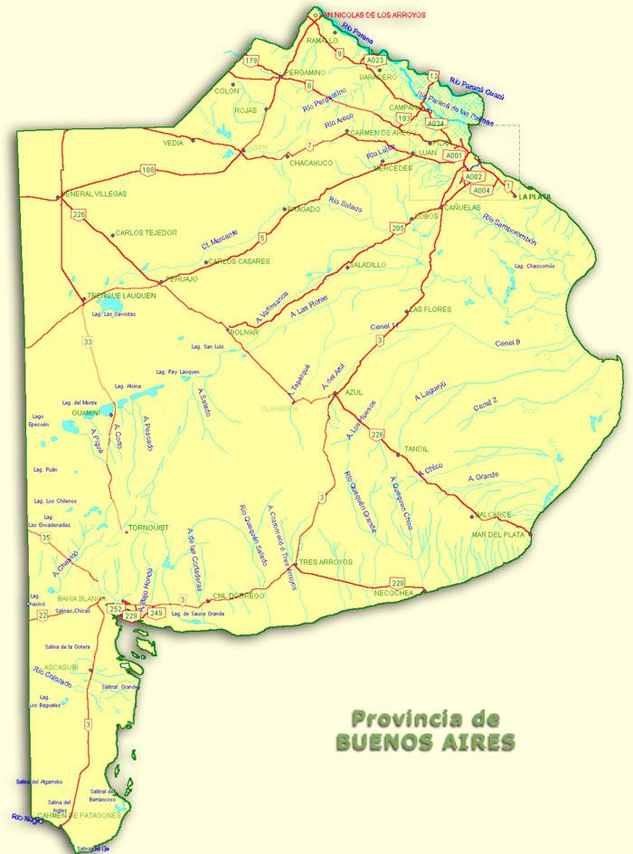 Mapa de Rutas Nacionales, Prov. Buenos Aires, Argentina