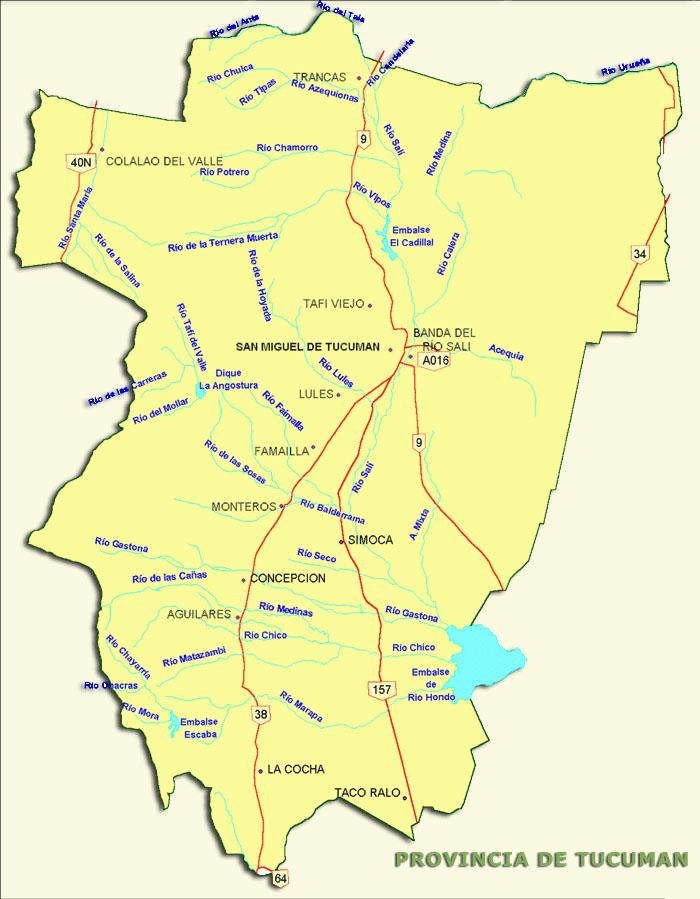 Mapa de Rutas Nacionales, Prov. Tucumán, Argentina