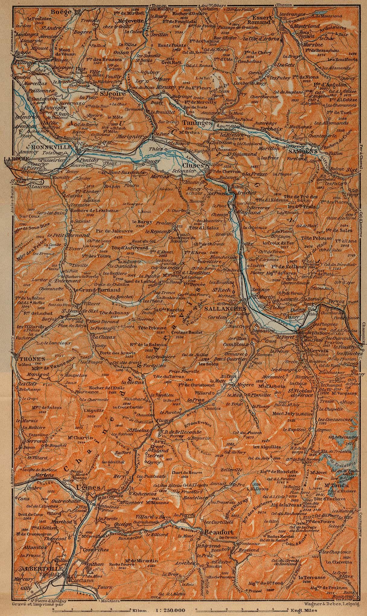 Mapa de Saboya, Francia 1914