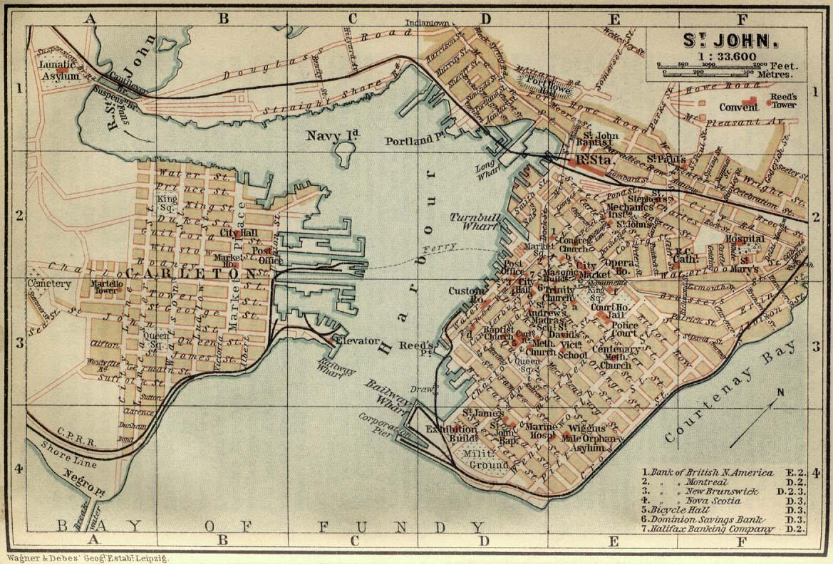 Mapa de Saint John, Nuevo Brunswick, Canadá 1894