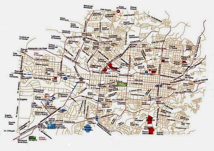 San Salvador Map, El Salvador