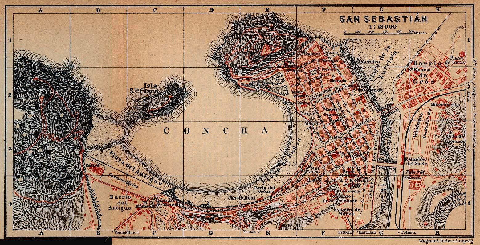 Mapa de San Sebastián, España 1914