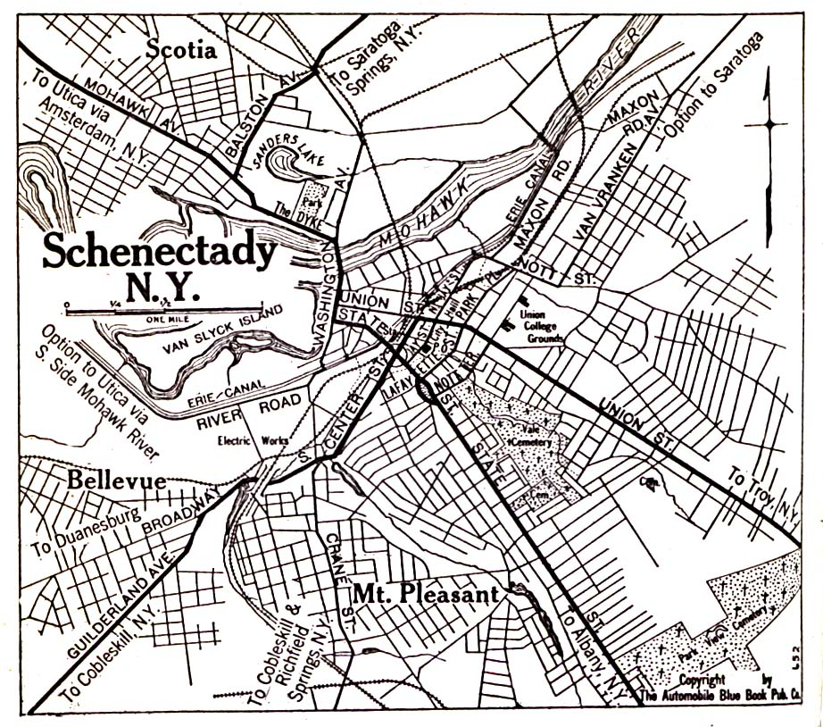 Schenectady Map, New York, United States 1920