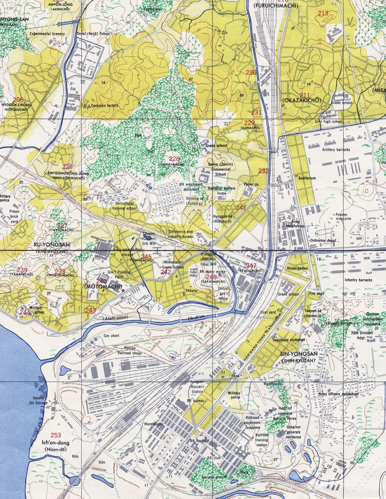 Southern Seoul Map, South Korea 1946