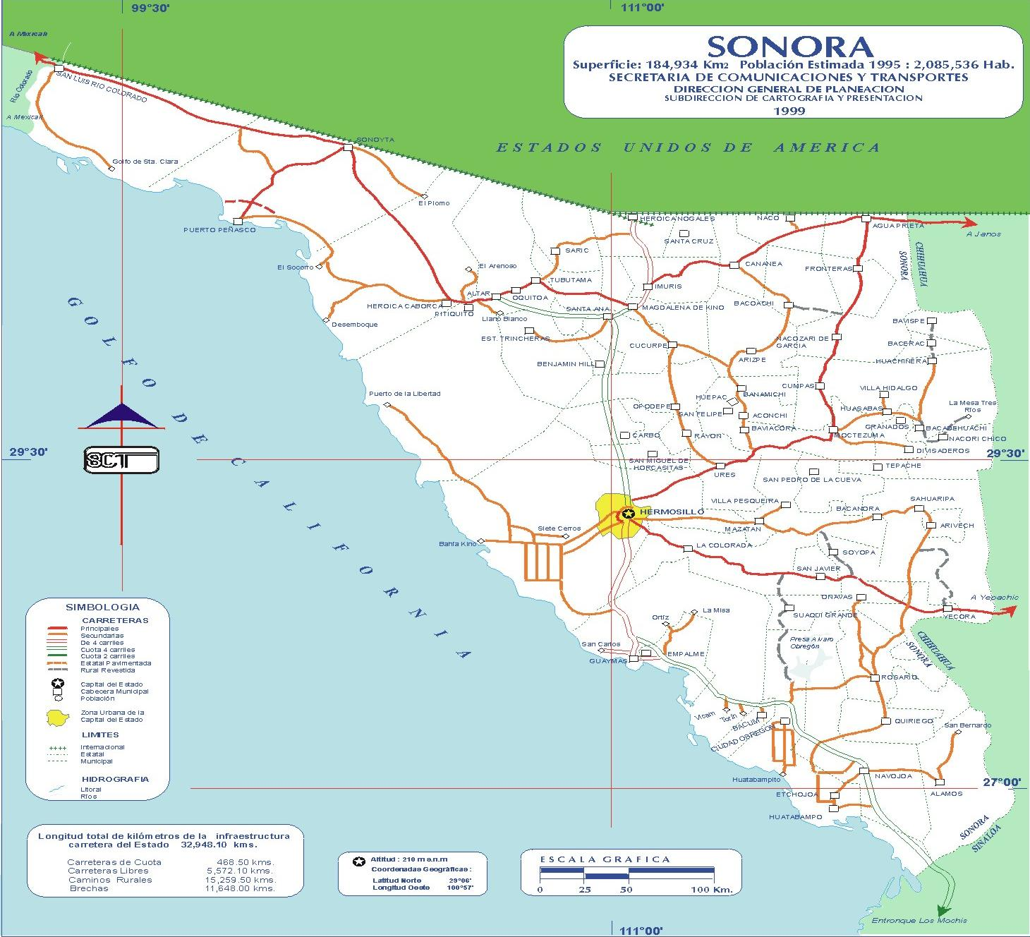 Map of Sonora (State), Mexico