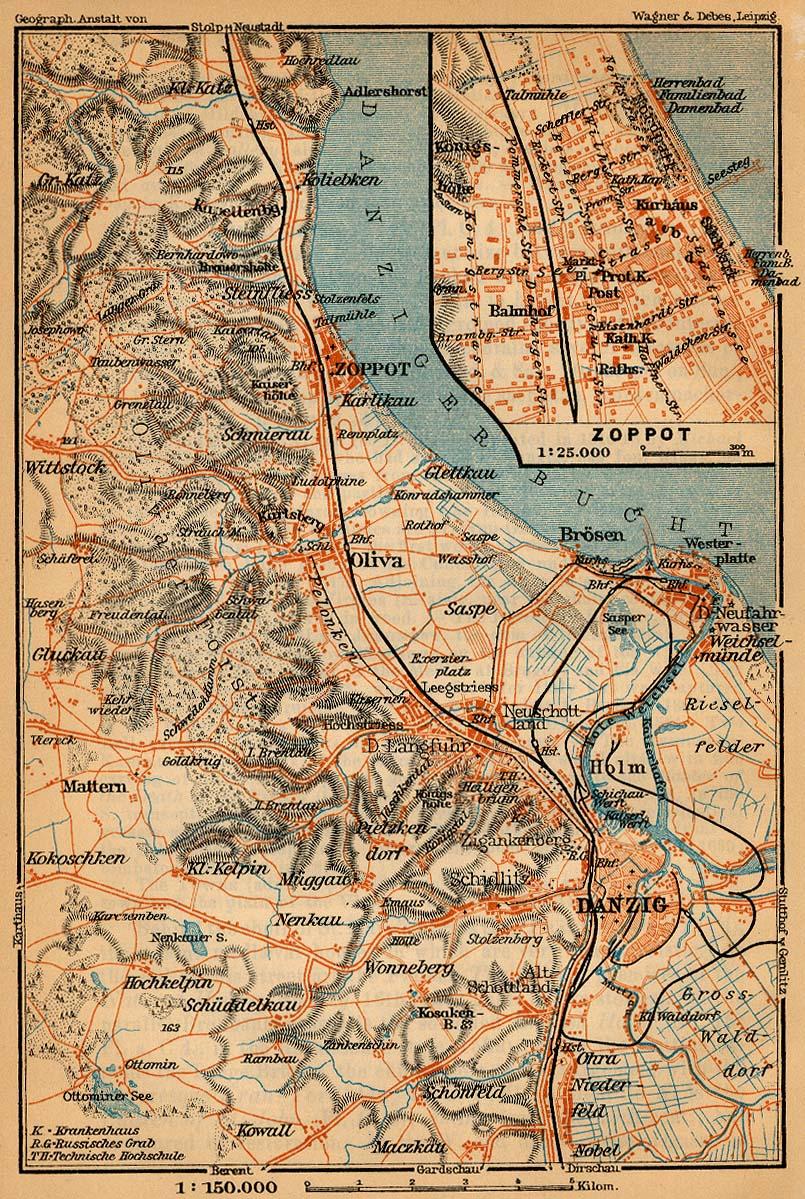 Mapa de Sopot (Zoppot), Polonia 1910