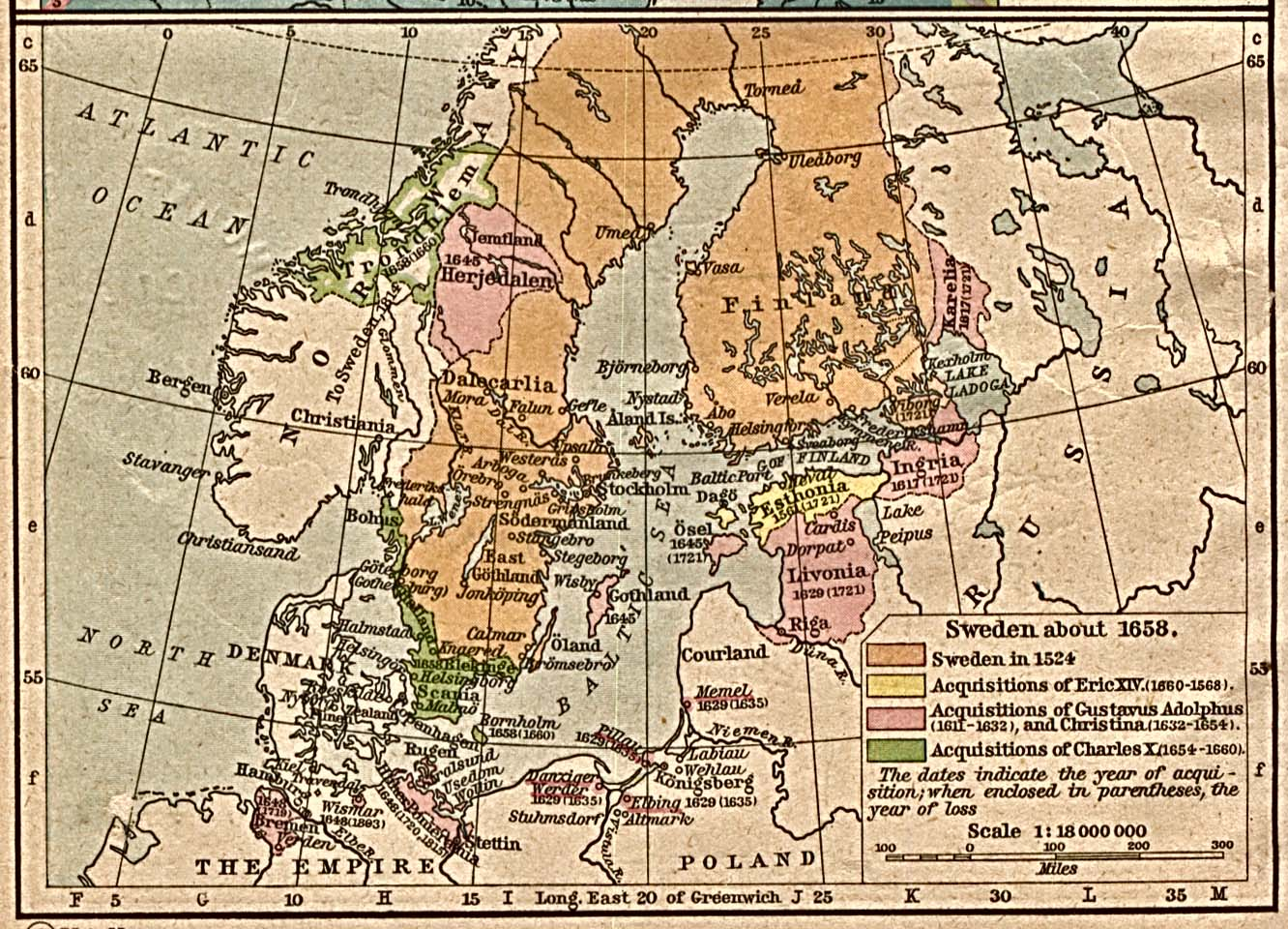 Map of Sweden About 1658