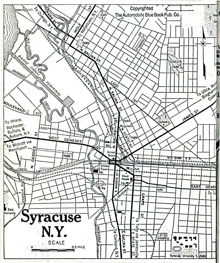 Mapa de Syracuse, Nueva York, Estados Unidos 1920