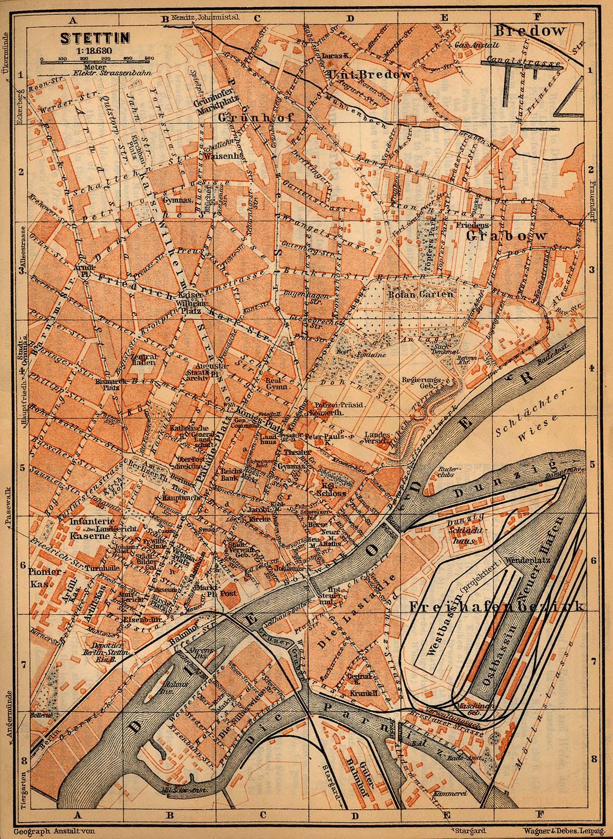 Szczecin (Stettin) Map, Germany 1910