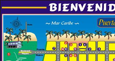 Tela Map, Atlantida Department, Honduras