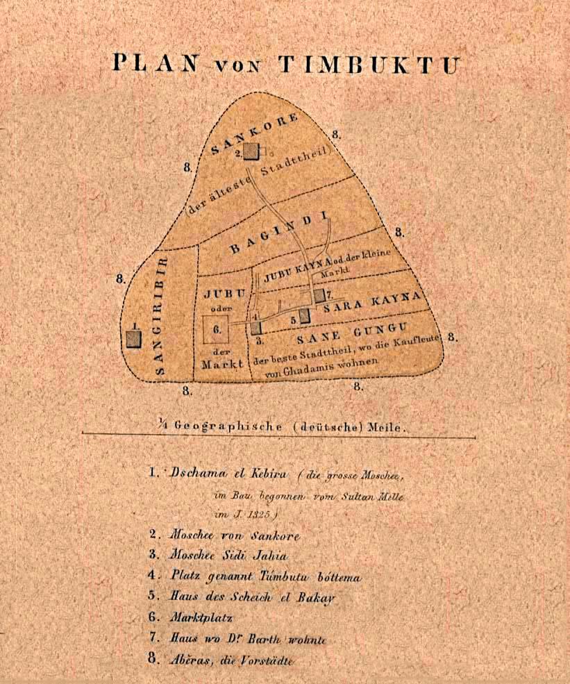 Mapa de Tombuctú, Malí 1855