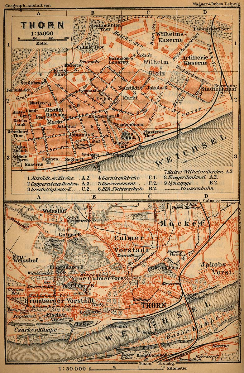 Torun (Thorn) Map, Poland 1910