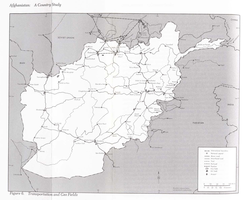Mapa de Transporte y Campos Gasíferos en Afganistán