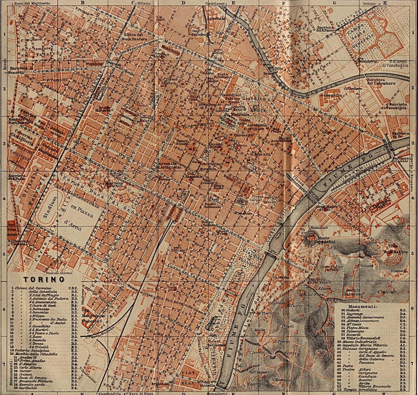 Mapa de Turín, Italia 1913