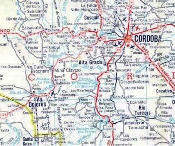Mapa de Ubicación de la Ciudad de Córdoba, Argentina