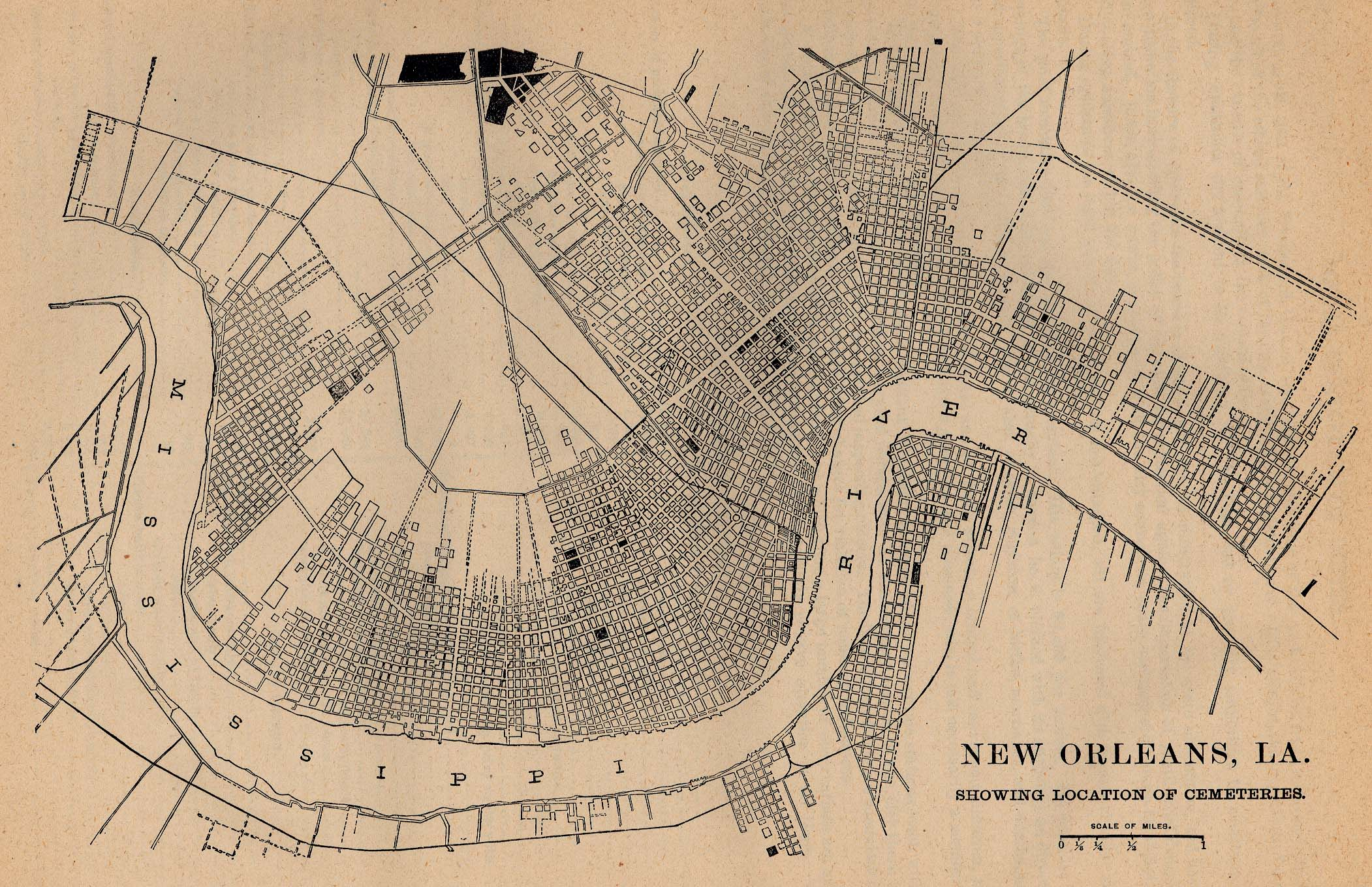 Location of Cemeteries Map, New Orleans, Louisiana, United States 1880