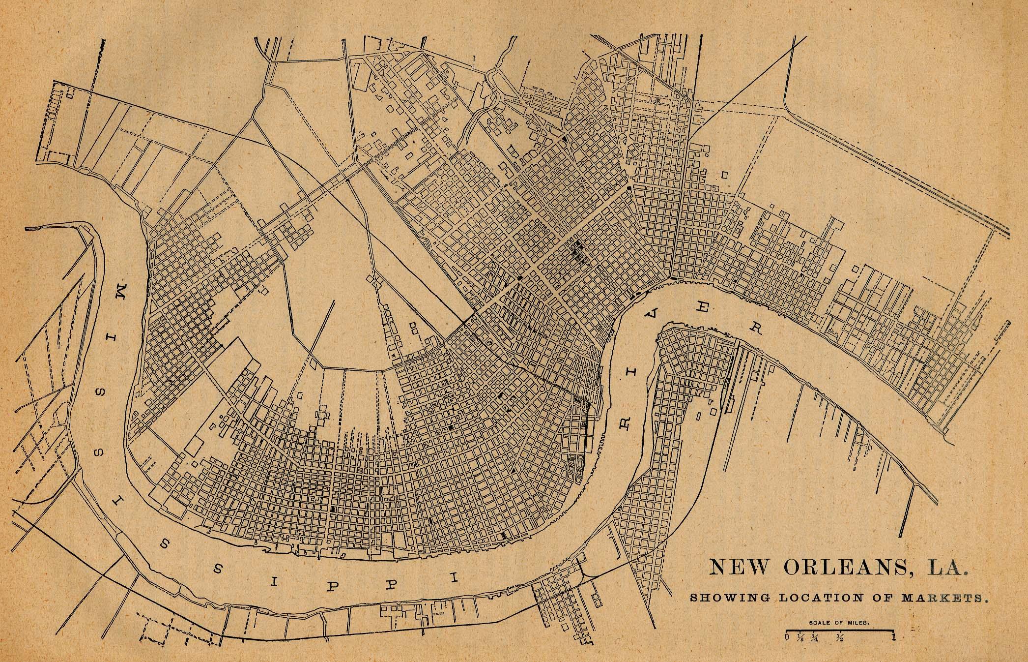 Mapa de Ubicación de los Mercados, Nueva Orleans, Luisiana, Estados Unidos 1880