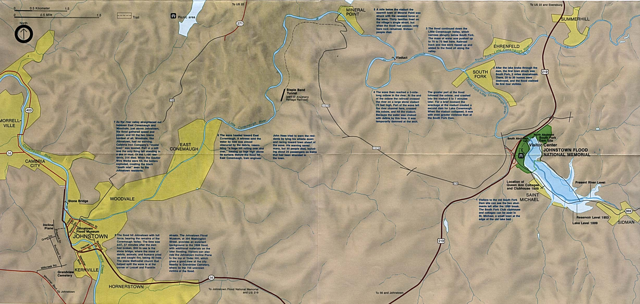 Mapa de Ubicación del Memorial Nacional Johnstown Flood, Pensilvania, Estados Unidos