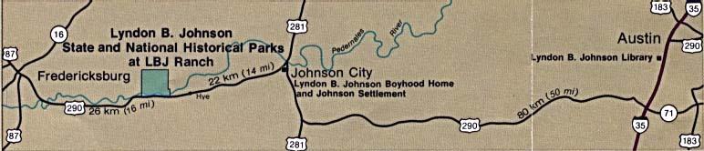 Mapa de Ubicación del Parque Nacional Histórico Lyndon B. Johnson, Johnson City, Estados Unidos