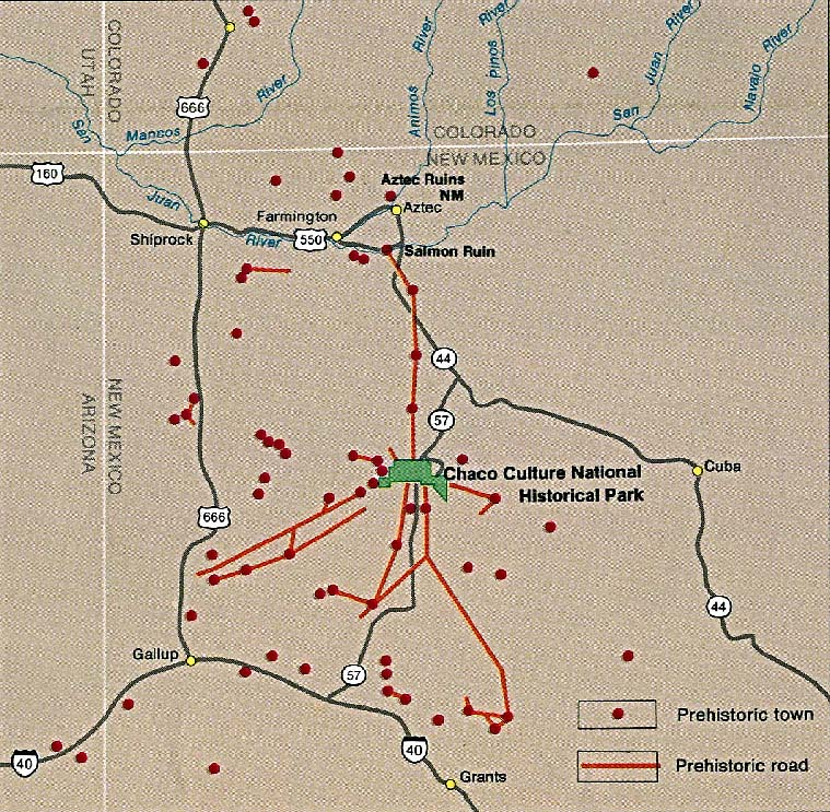 Location Map of Chaco Culture National Historic Park, New Mexico, United States