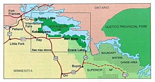 Mapa de Ubicación del Parque Nacional Voyageurs, Minnesota, Estados Unidos