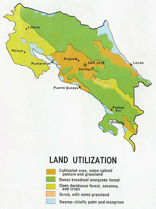 Costa Rica Land Utilization Map