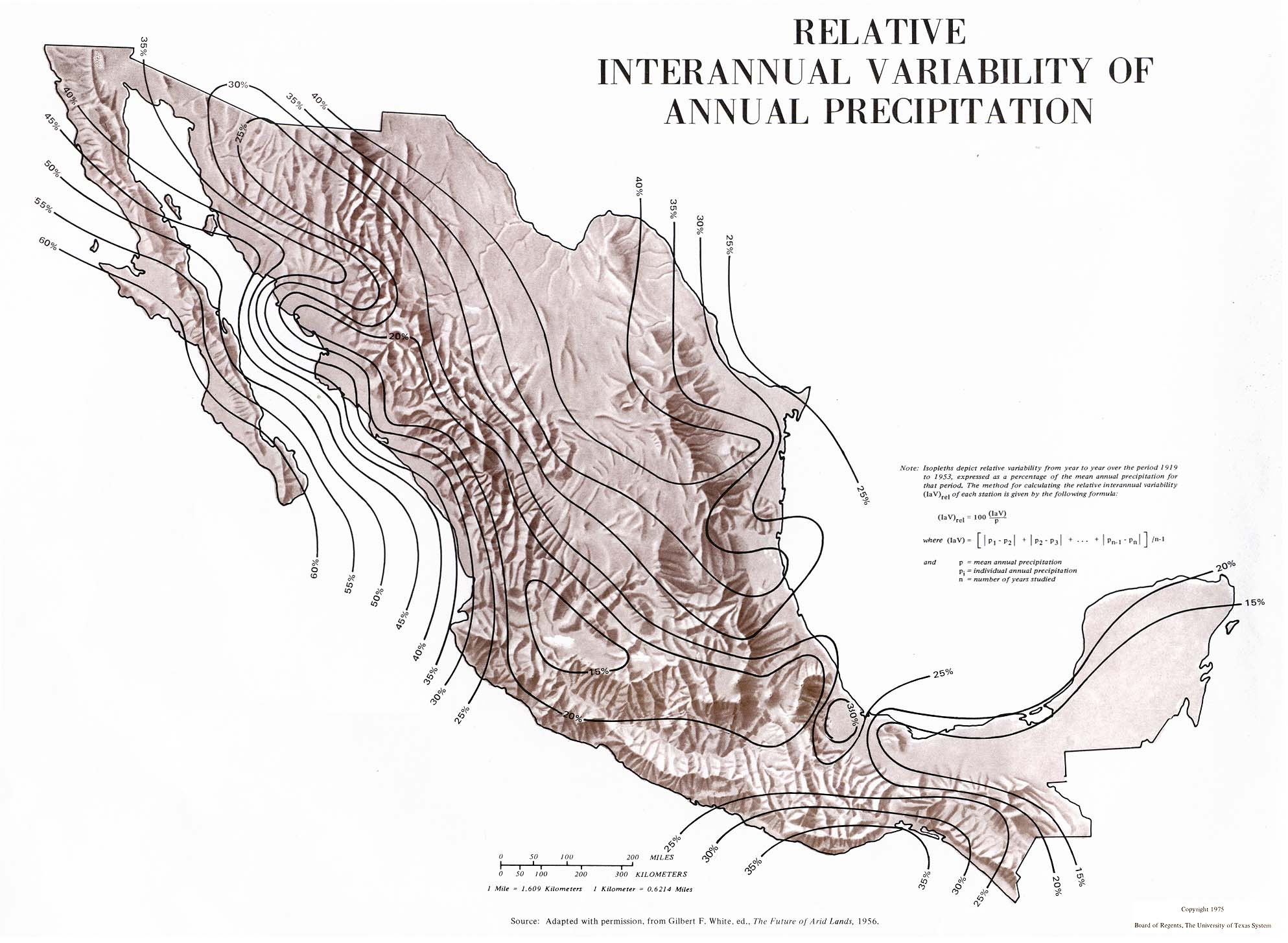 Relative Interannual Variability of Annual Precipitation Map, Mexico
