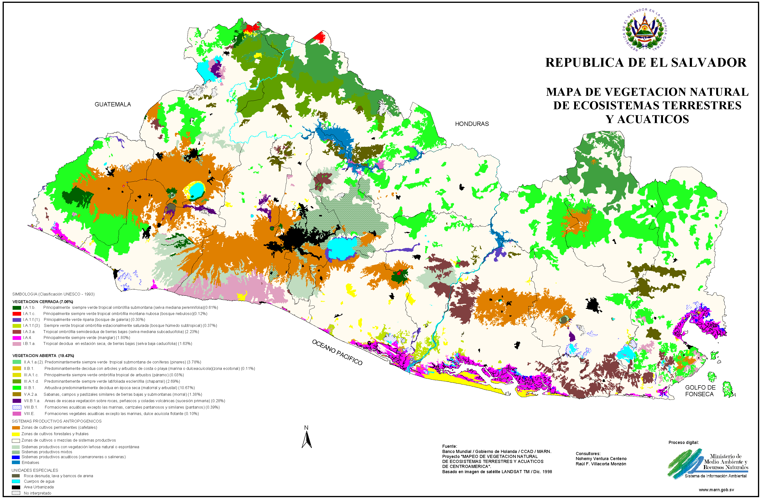 El Salvador Natural Vegetation Map