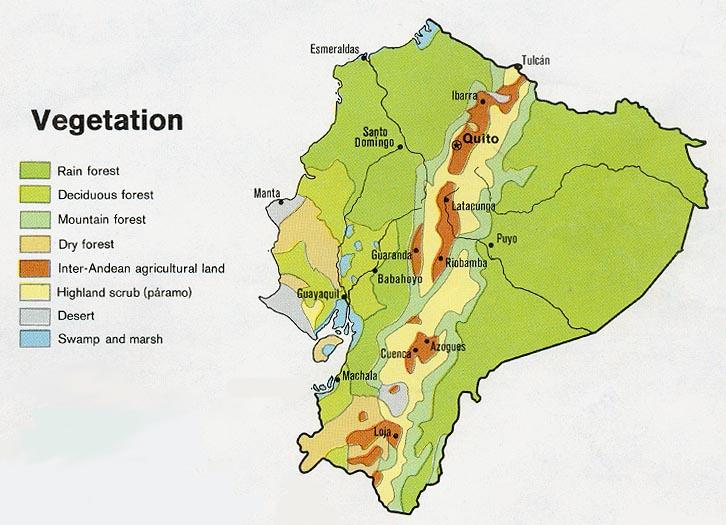 Mapa de Vegetación de Ecuador