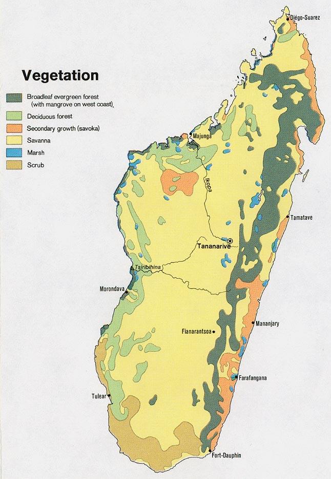 Mapa de Vegetación de Madagascar