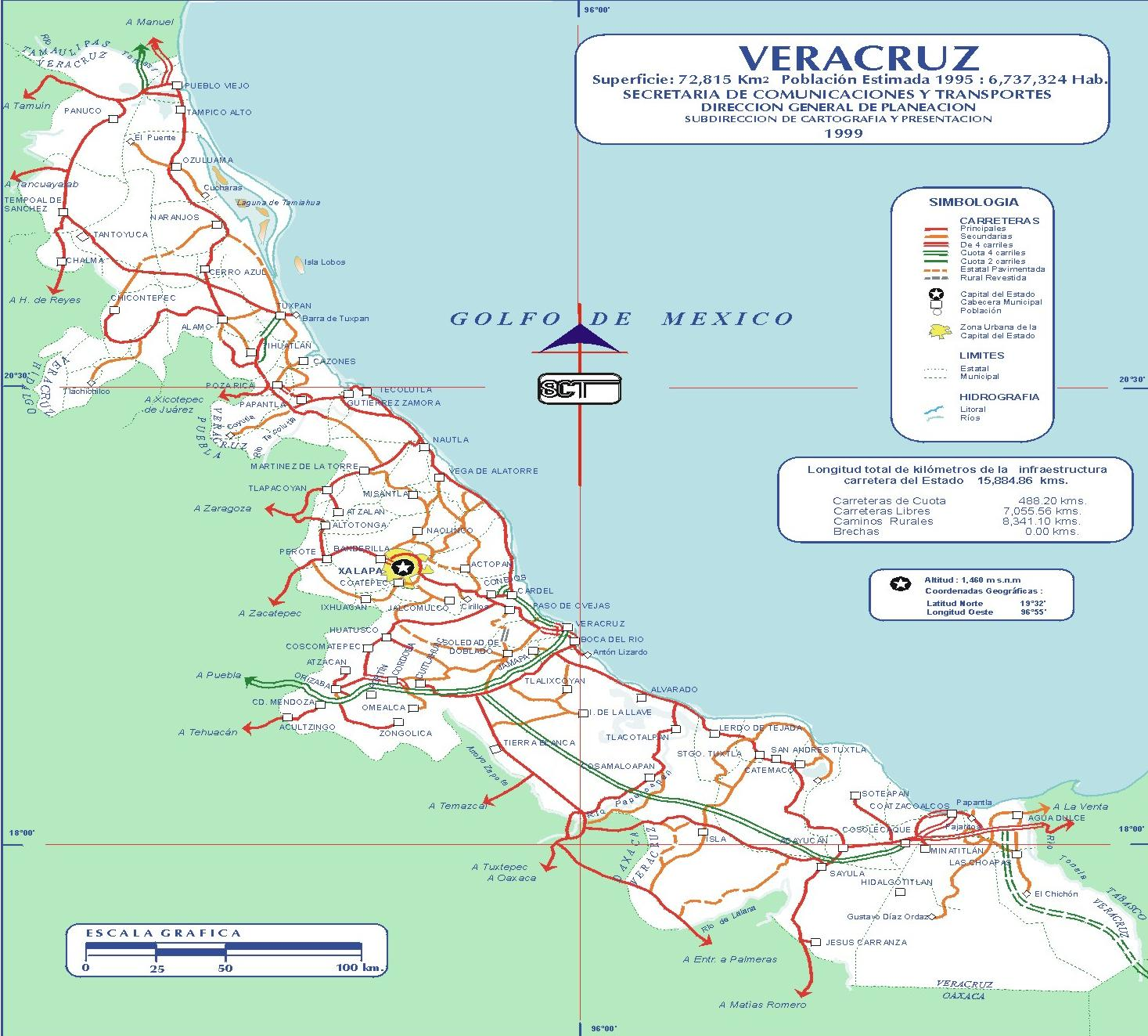 Map of Veracruz-Llave (State), Mexico