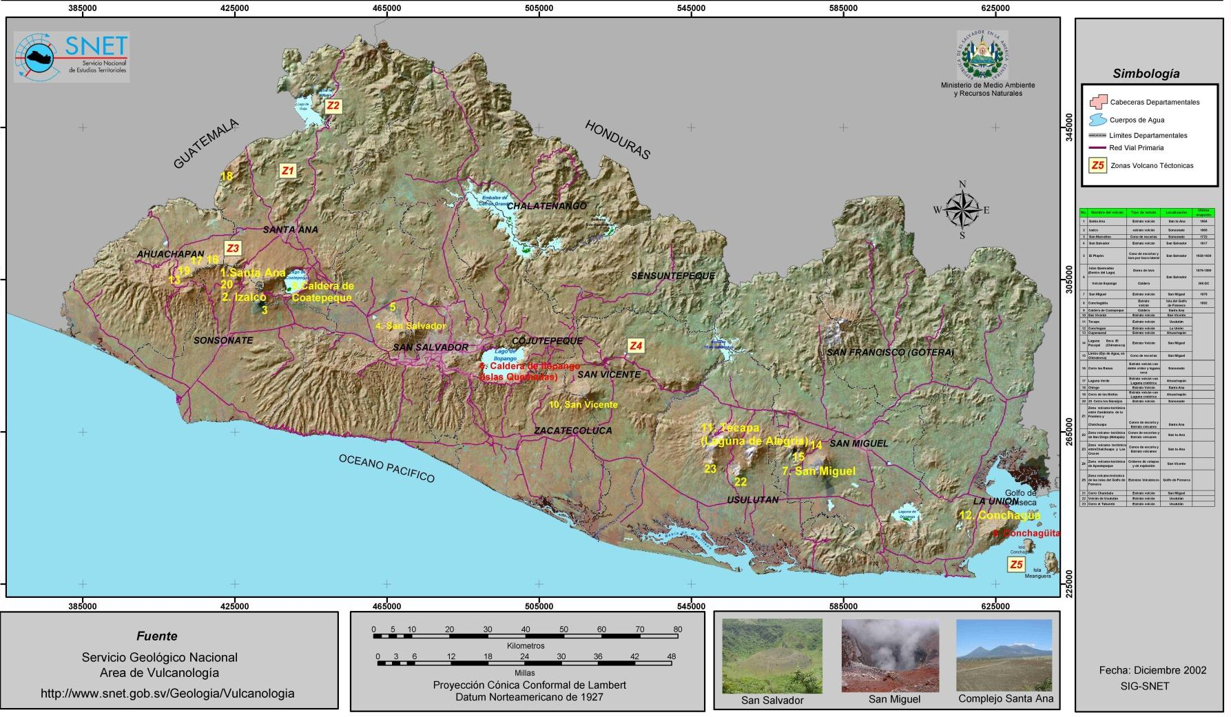 El Salvador Active Volcanos Map