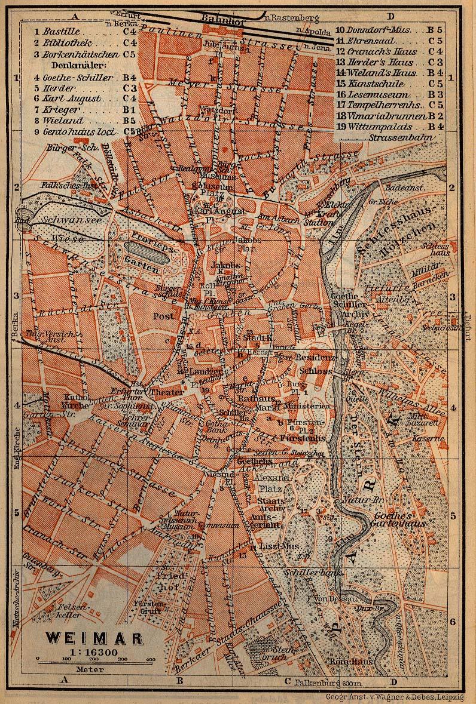 Mapa de Weimar, Alemania 1910
