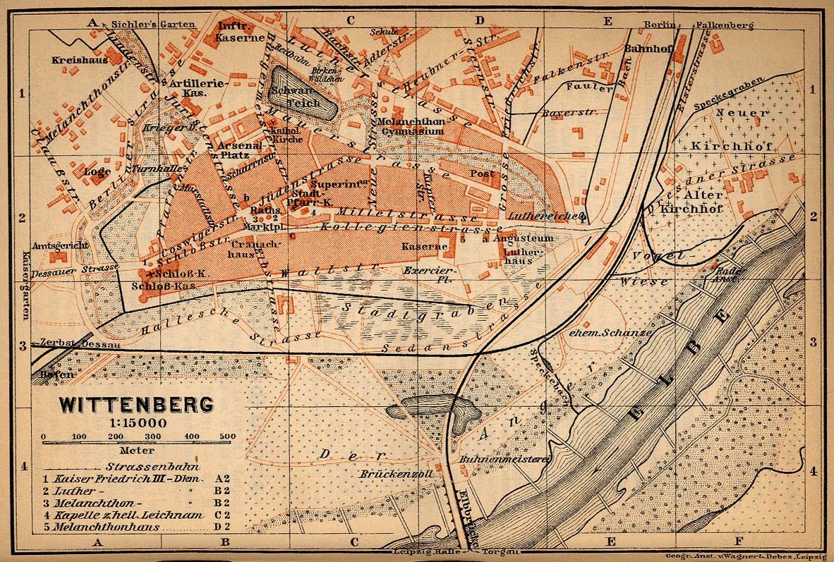 Mapa de Wittenberg, Alemania 1910