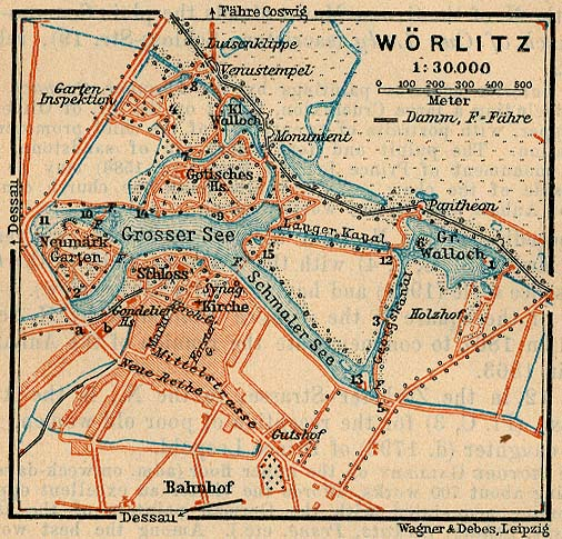 Mapa de Wörlitz, Alemania 1910