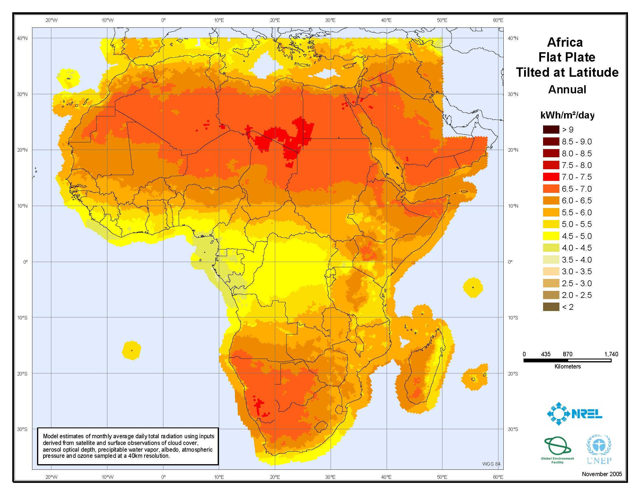 Solar irradiation map of Africa 2005